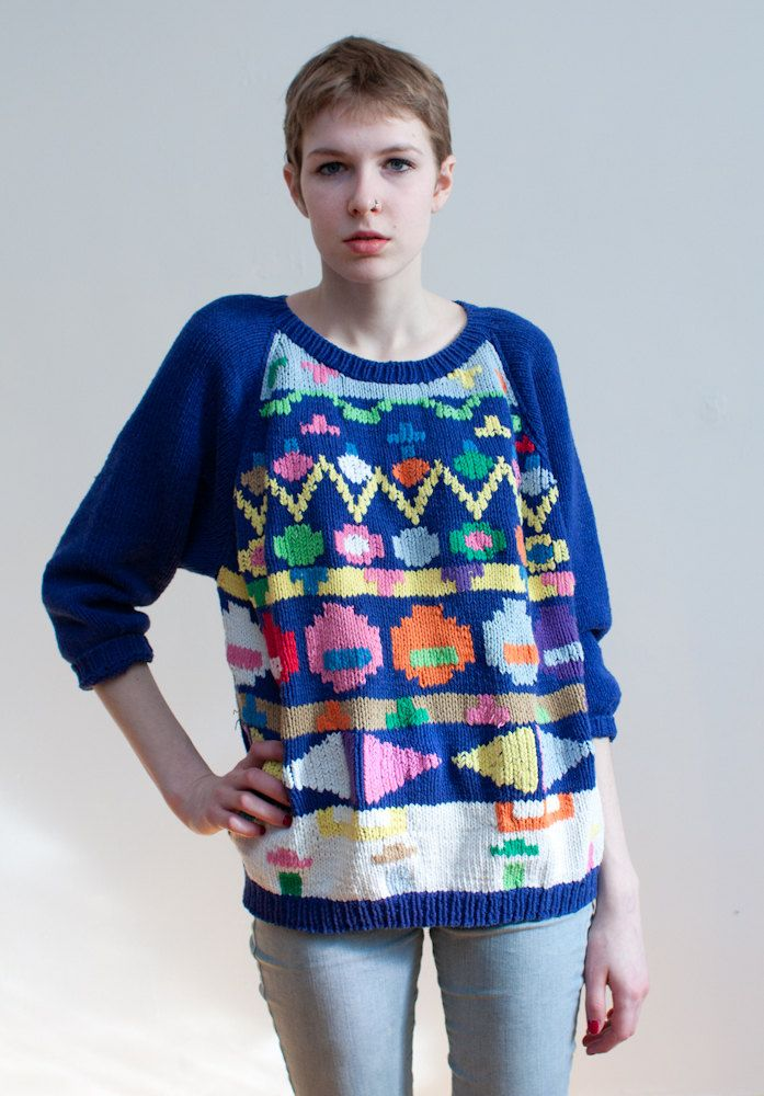 a996699d8b7e1 Very cool sweater in a chunky cotton (hand) knit featuring a pattern of bright  graphic shapes. Slouchy fit. Really fun piece. Kfactory nobuo ikeda