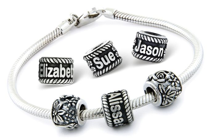 15104dbcb Custom Name Beads in Sterling Silver for Pandora Style Bracelets only  $69.00 - Initial Charm Beads & Numbers