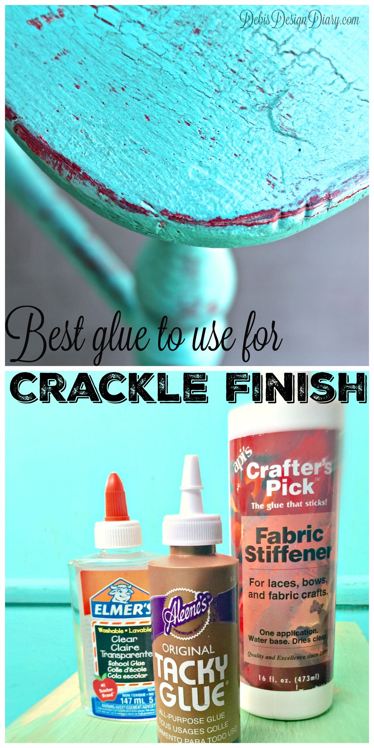 Crackle And Distress Your Furniture Elmer S Glue And Chalk Paint Crackle Painting Diy Painting Paint Finishes