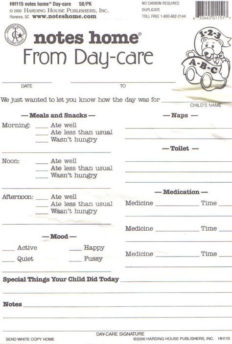 Day Care Infant Daily Report Sheets Printables Daycare Pinterest