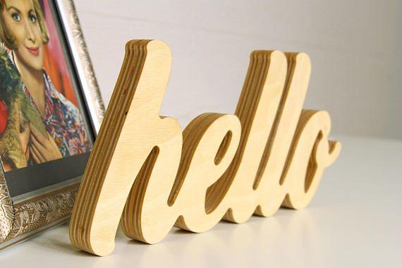 Hello sign, Decor script sign, Wood signs saying, Wall decor script ...