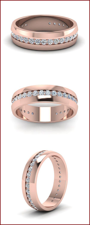 Mens Diamond Channel Wedding Band In 14k Rose Gold Mens Rings Wedding Diamond Mens Diamond Wedding Wedding Rings Rose Gold