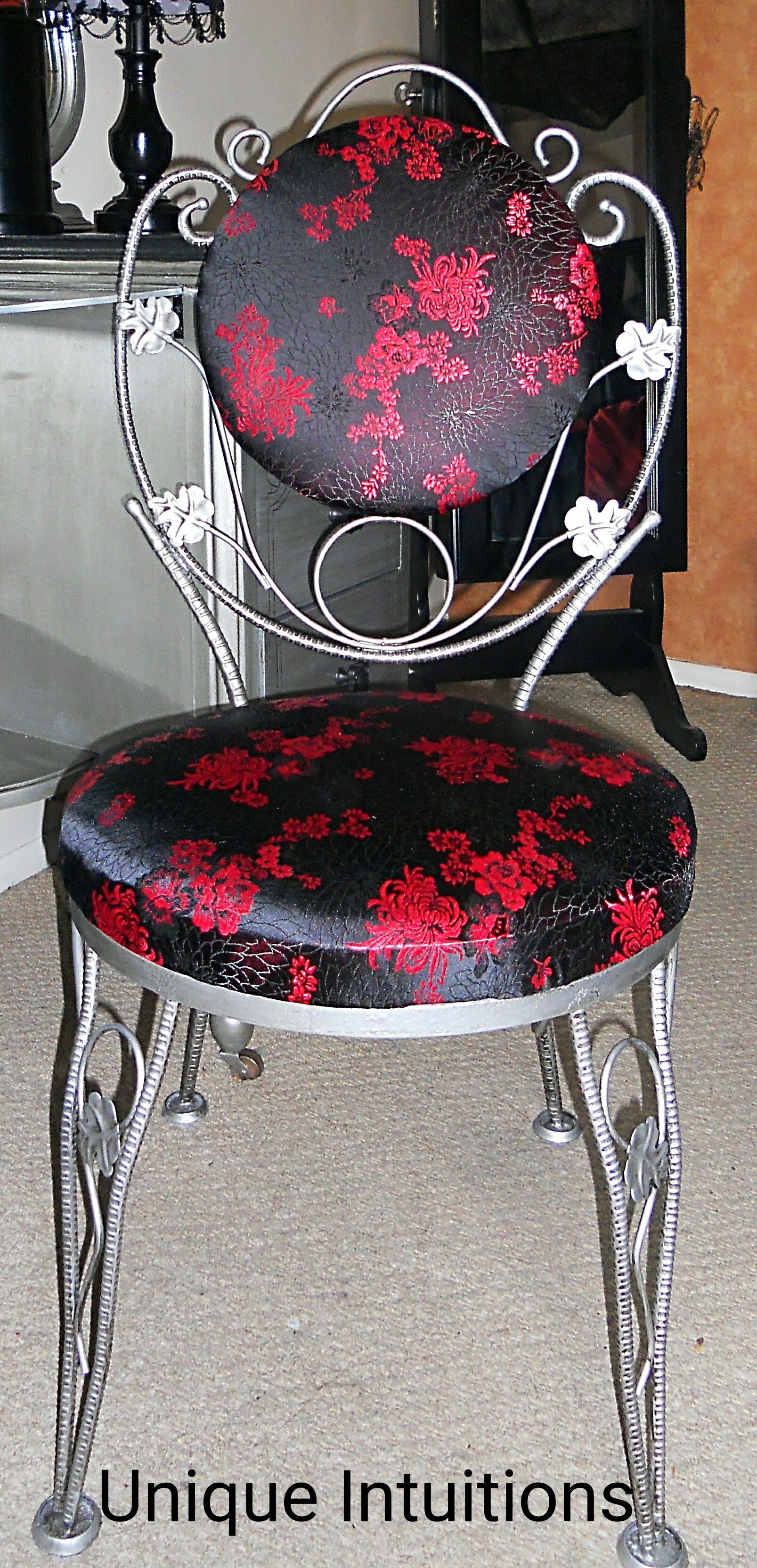DIY Aged Silver Reupolstered Gothic Style Chair ...