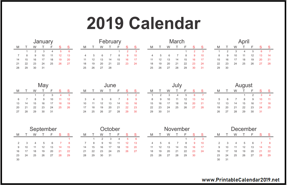 Best 10 Download Free 2019 One Page Calendar Printable Calendar Printables Calendar Template Calendar 2019 Printable