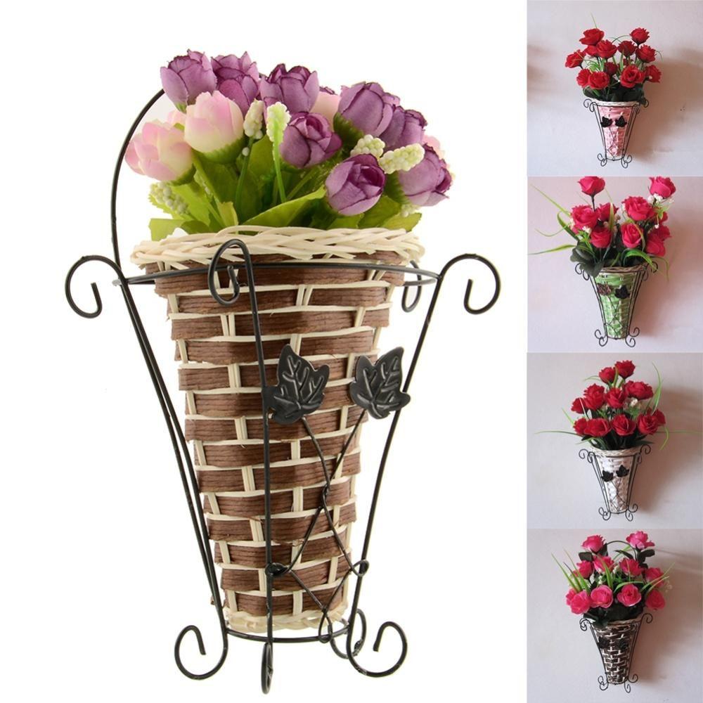 Hot Vintage Weave Vine Wall Hanging Artificial Flower Basket Flower