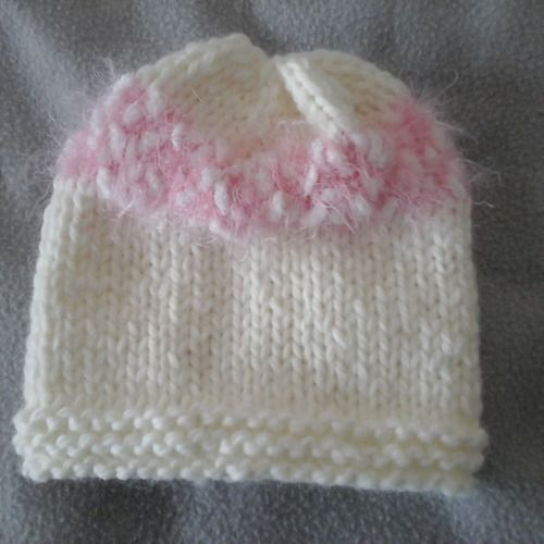Bonnet prématuré naissance écru extensible passion tricot   Mode bébé 608d136cdb8