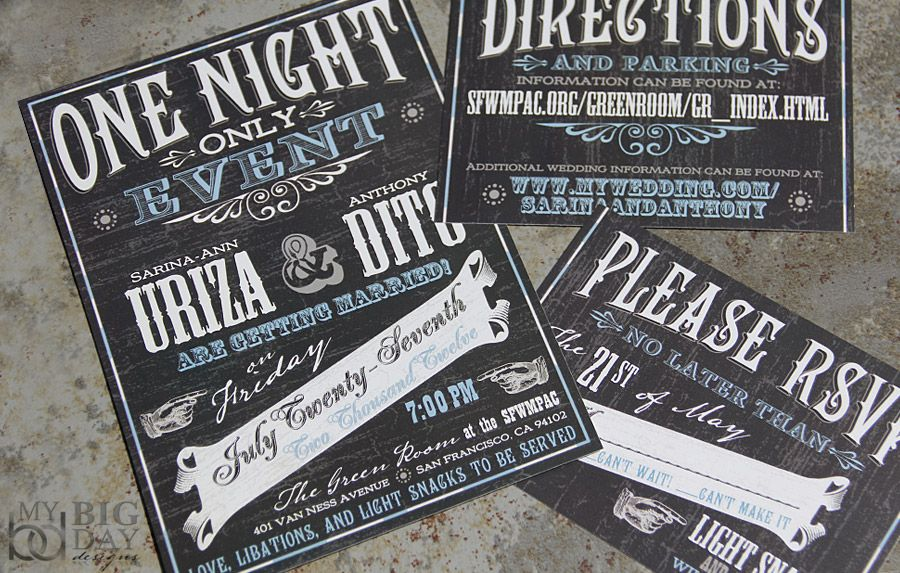 Chalkboard Inspired Wedding Invitation Set 100 Sets 275 2 75