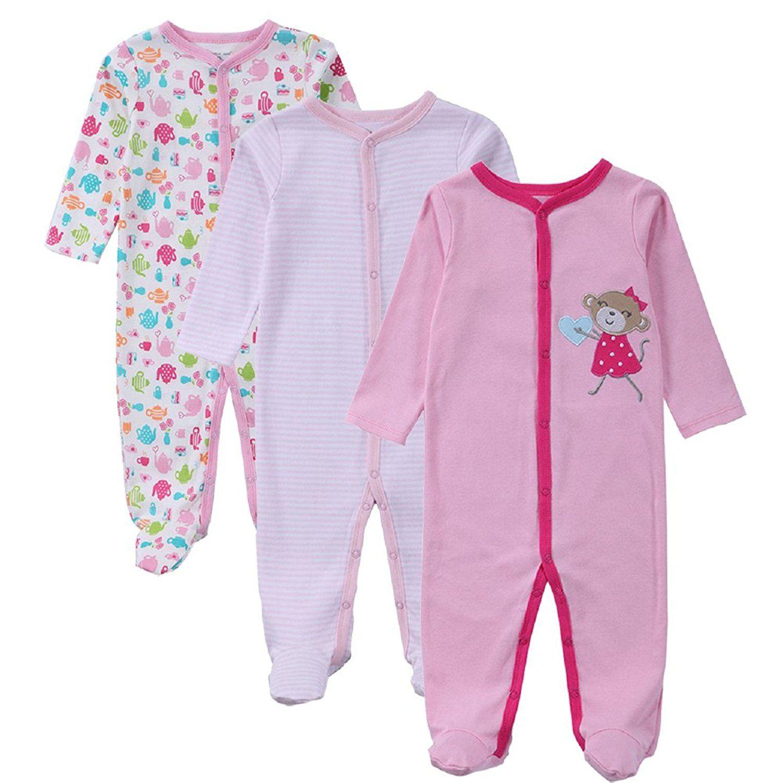 d4a8e4ab84b0 Amazon.com  JIAJIA Newborn Baby Boys Girl Cotton Footed Sleeper ...