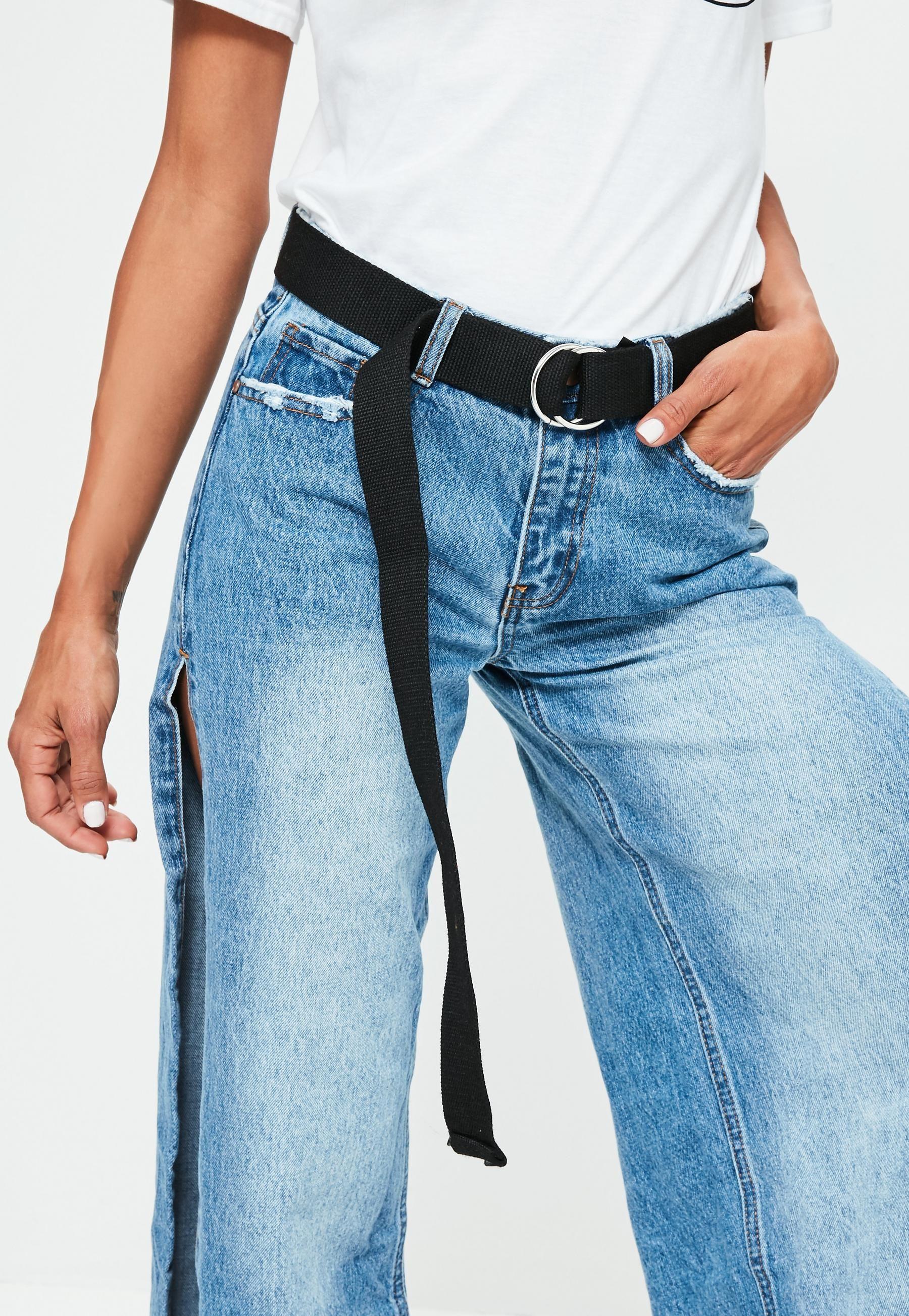 Black Simple D-Ring Long Belt  23d8d33d493