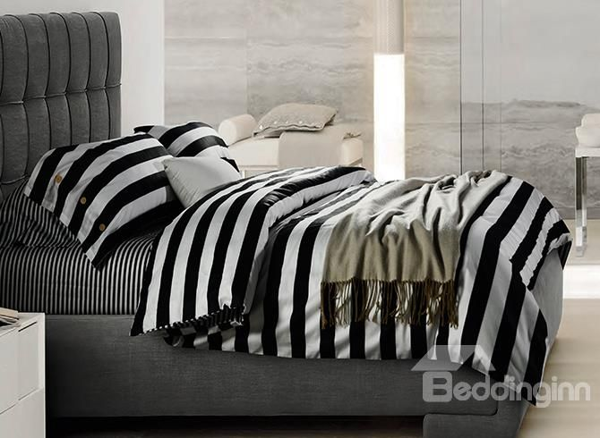 Minimalist black and white stripe soft cotton bedding sets for Minimalist comforter