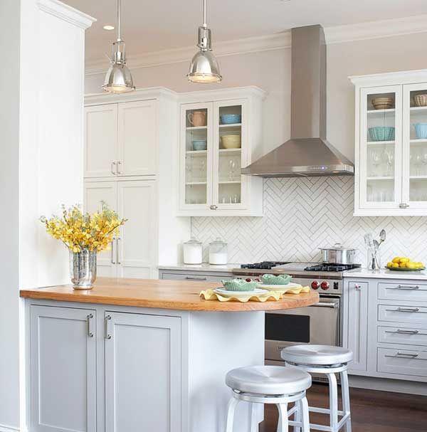 Traditional Kitchen Splashbacks Ideas: Kitchen Concrete Countertop With Brick Splashback Ideas