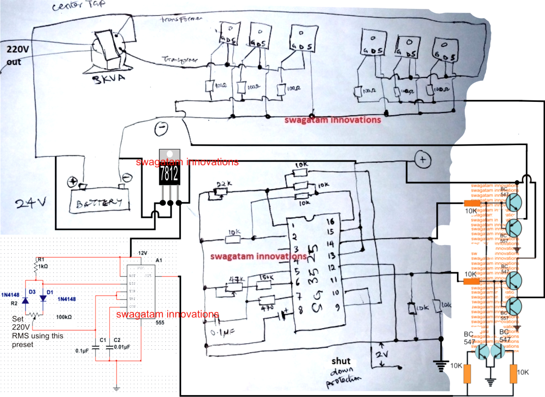 in this post we discuss a simple 2kva inverter circuit using the ic sg3525 which [ 1108 x 807 Pixel ]