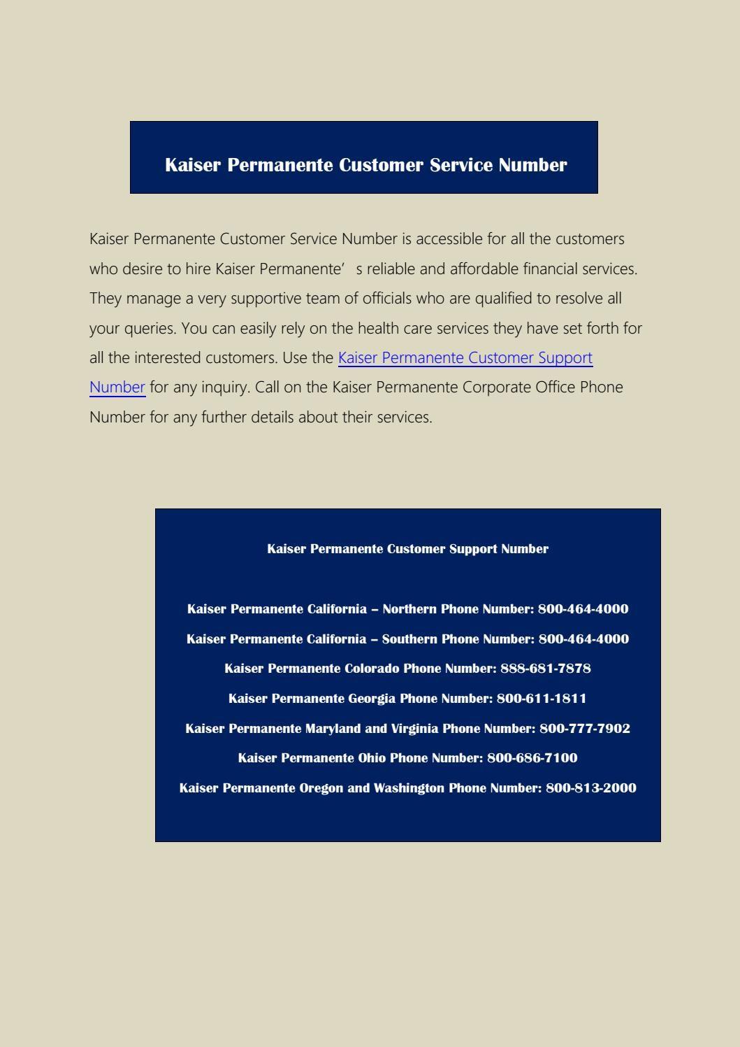 Kaiser Permanente Customer service number Kaiser