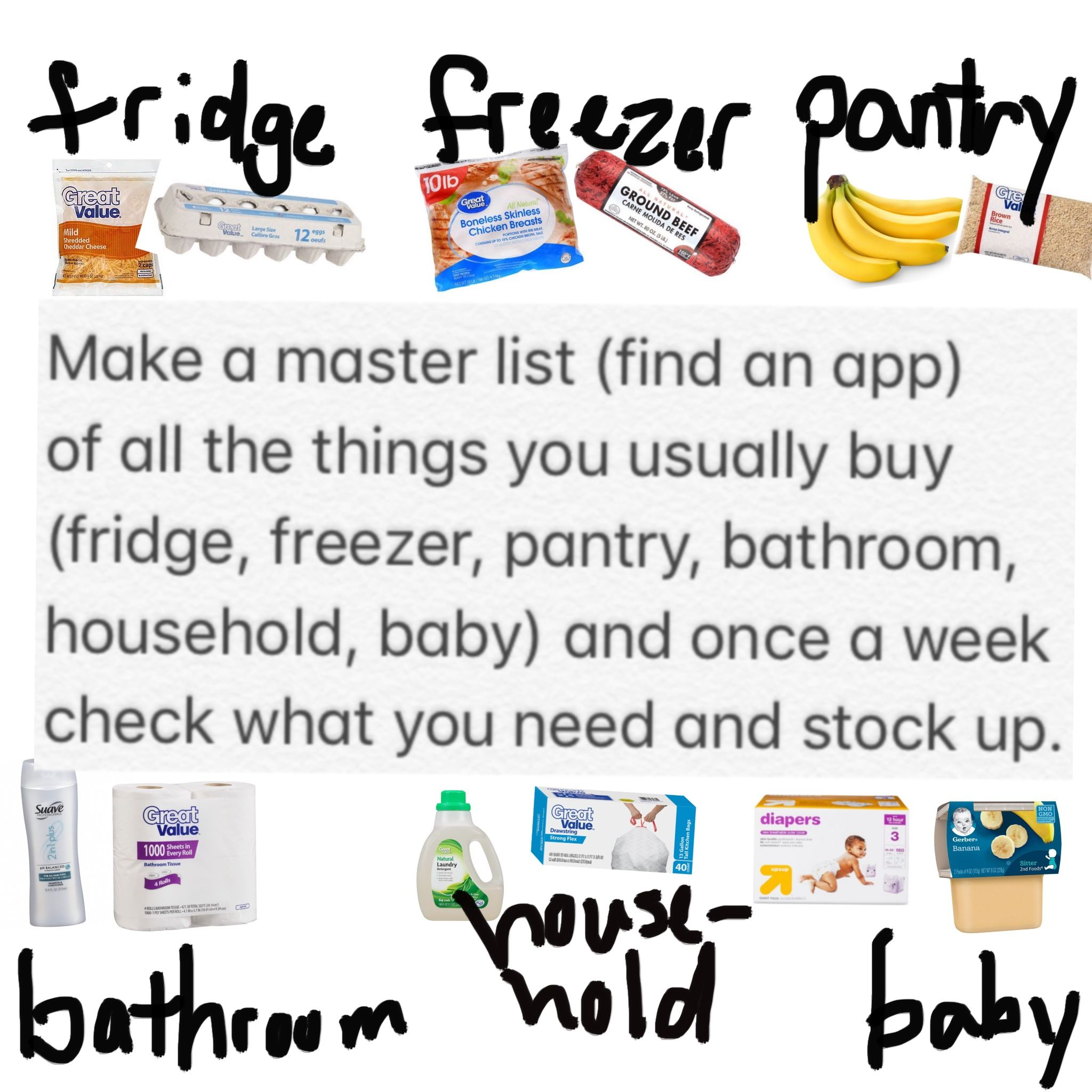 Make a master list (find an app) of all the things you usually buy ...