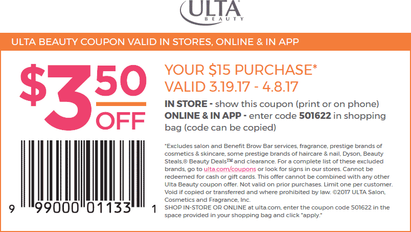 Pinned March 20th 3 Off 15 At Ulta Beauty Or Online Via Promo Code 501622 Thecouponsapp Beauty Coupons Ulta Ulta Beauty