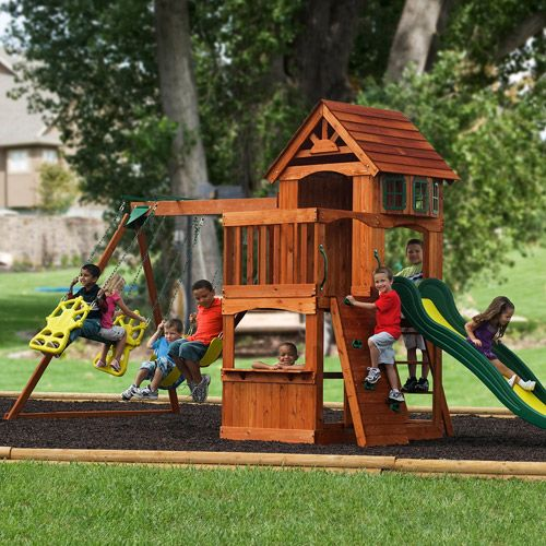 Backyard Discovery Atlantis Cedar Swing Set Walmart Com 18 1 L X