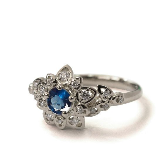 Sapphire Art Deco Petal Engagement Ring 14K by DORONMERAVCLASSICS