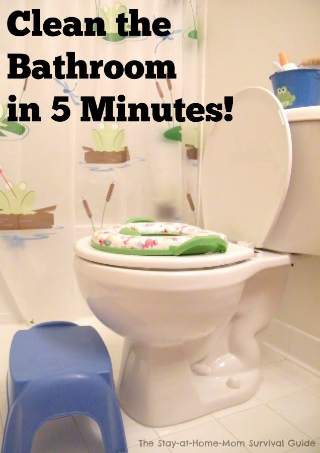 Easy method to get the bathroom clean in only 5 minutes! Simple tips make this so easy.