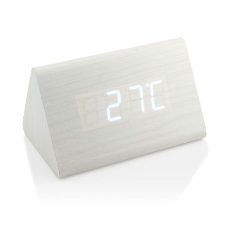 Modern Triangle Wood Led Wooden Alarm Digital Desk Clock Thermometer Classical Timer Calendar Walmart Com Desk Clock Modern Triangles Clock