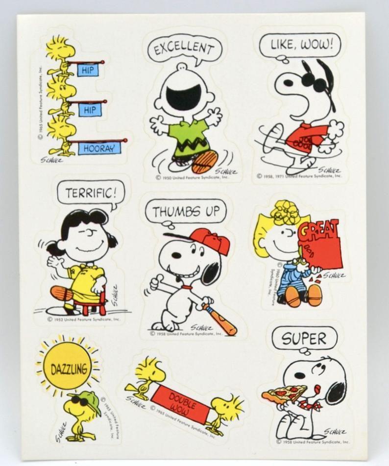 Vintage 1990/'s Sports Hallmark Peanuts Snoopy Full Sticker Sheet Set of 4 Unused