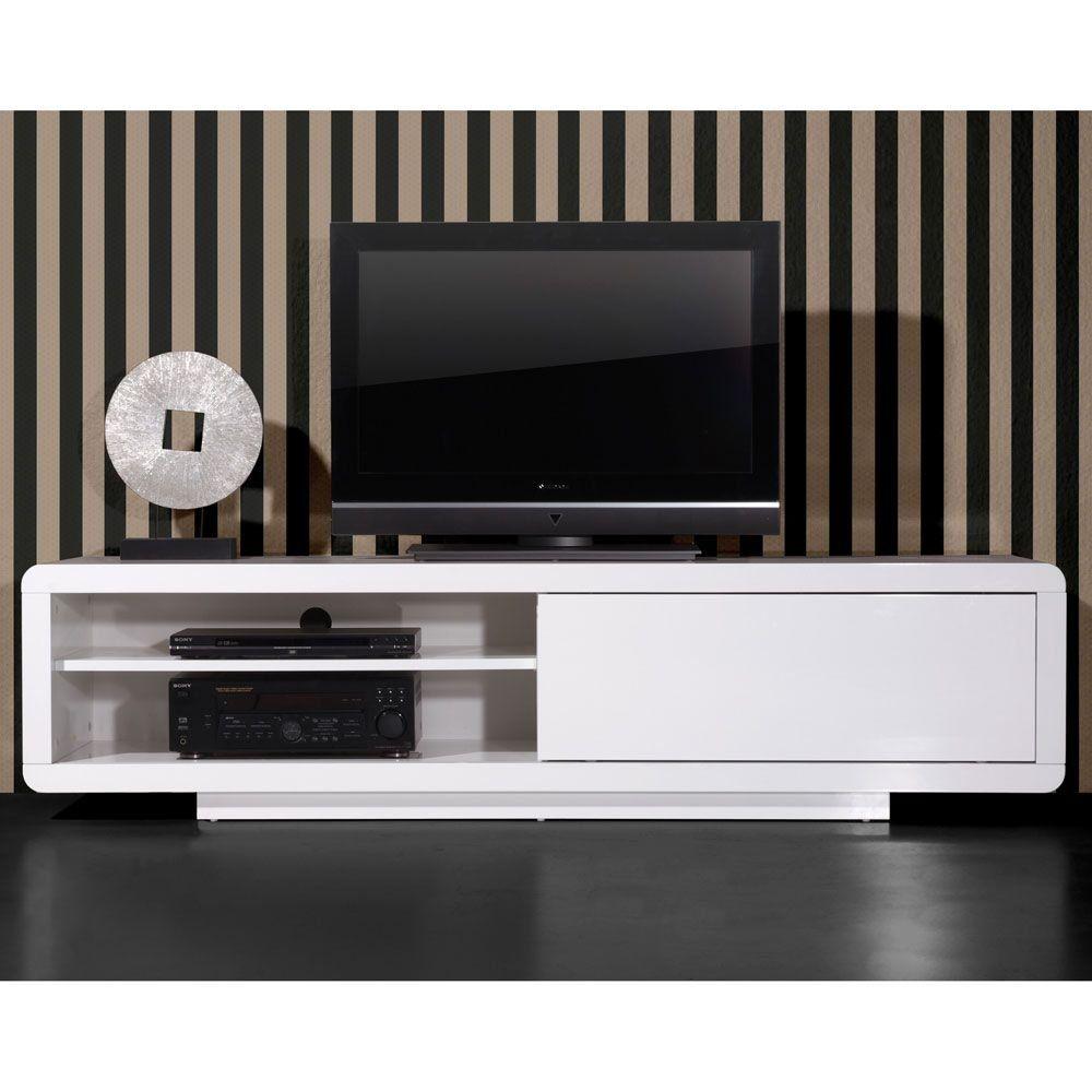 meuble tv porte coulissante laqu l180xp45xh45cm highgloss port offert - Meuble Tv Blanc Glossy