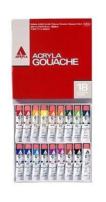 Holbein Acryla Gouache 18 Colors Set Tube New Japanese Paint