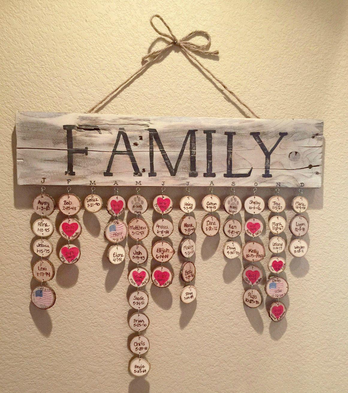 Rustic Family Birthdays Plaque