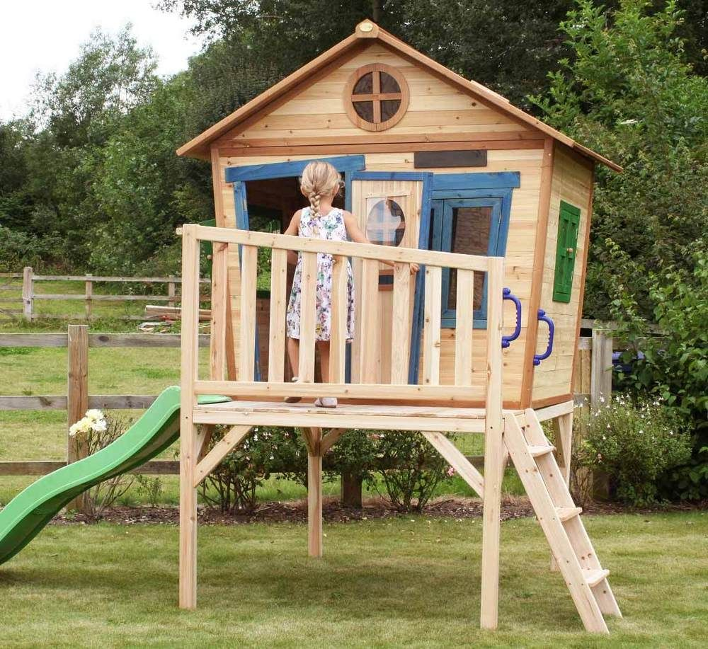 Redwood Den Painted Wooden Playhouse With Slide For Children Tall