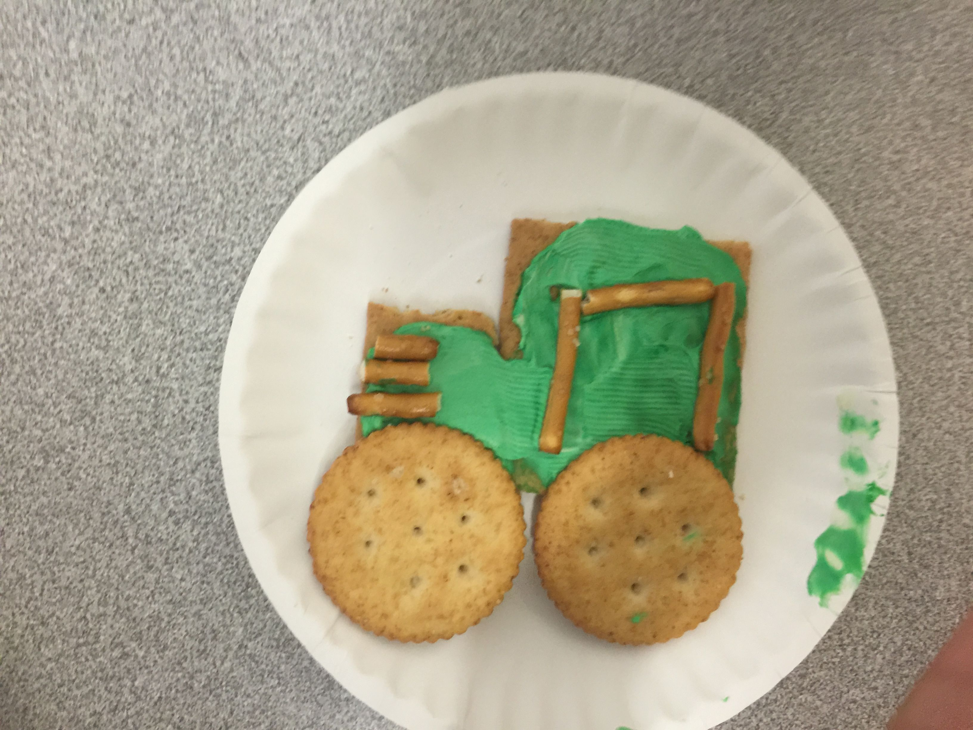 Tractor Snack Graham Cracker Ritz Crackers Green Cream