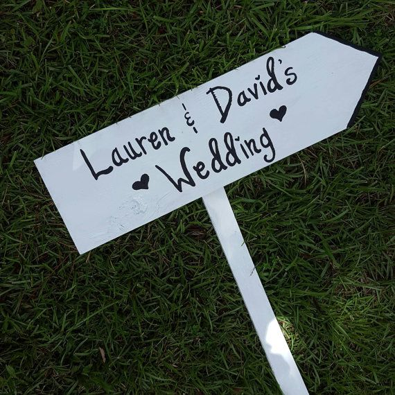 Directional Wedding Sign Ceremony Wooden Arrow Road Rustic Hand Painted
