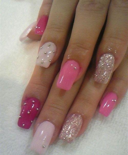Beautiful Light To Dark Pink Nail Art Styles Time Disenos De Unas Disenos De Unas Pintura De Unas