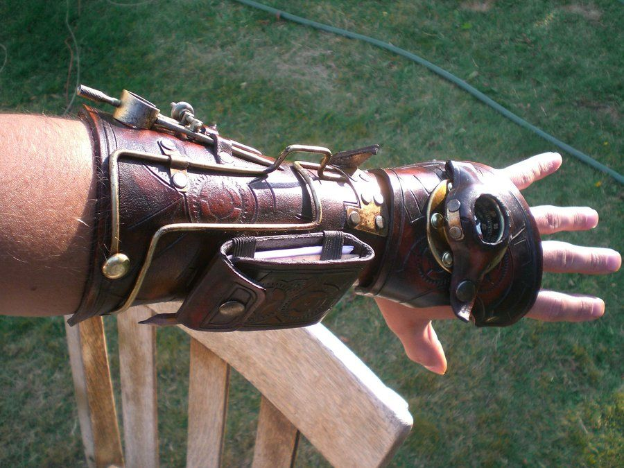 Steampunk bracers. Wow that is cool.