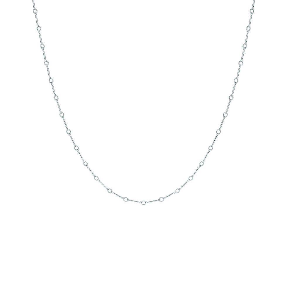 "Flat bar chain in sterling silver, 24"" long."