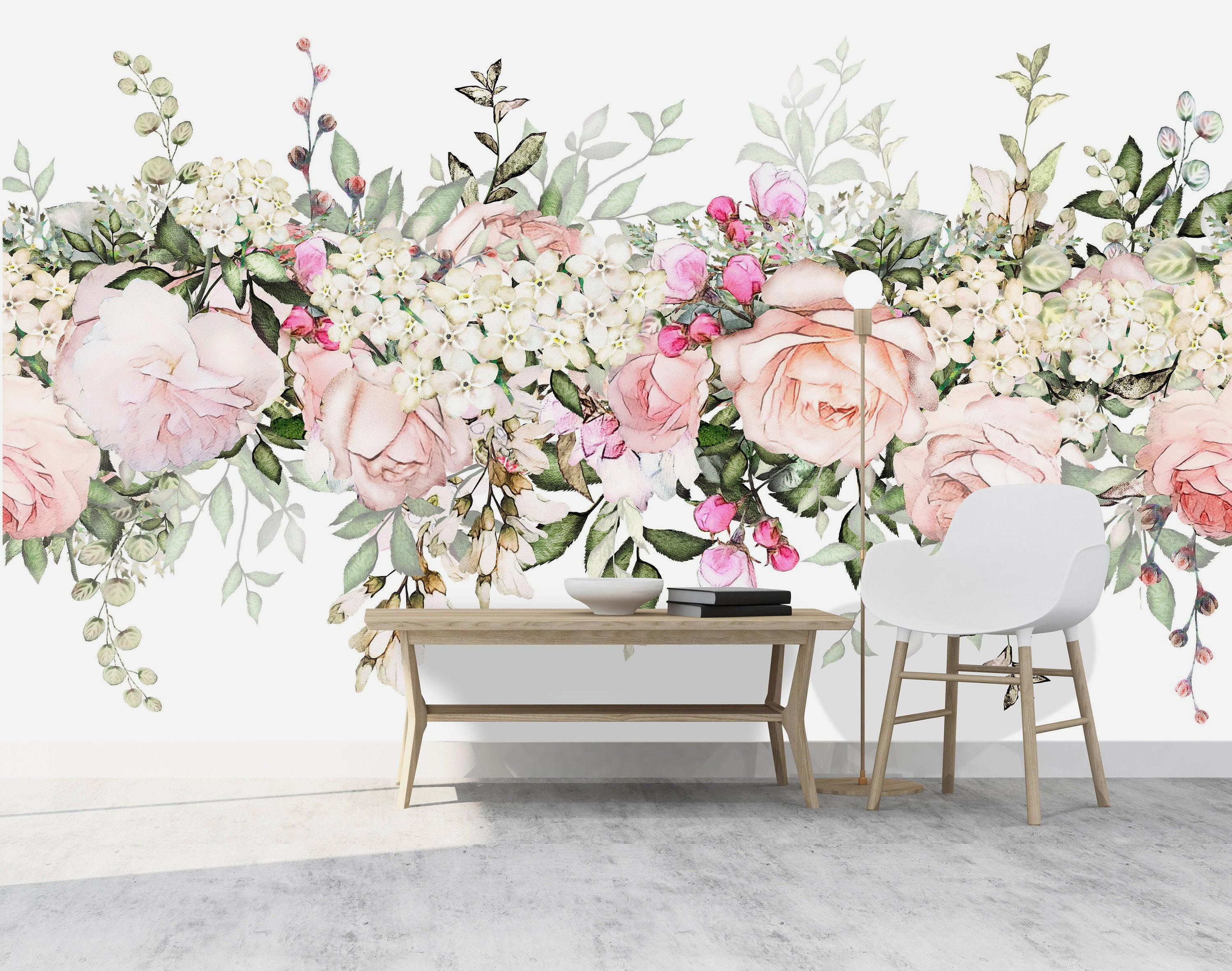 Removable Large Watercolor Floral Mural Wallpaper Removable