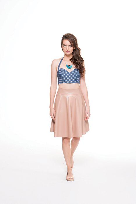 Caramel leather-like full skirt & polka dot denim top