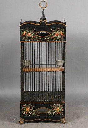 Tole Ware Painted Bird Cage Floral Decoration | bird cages