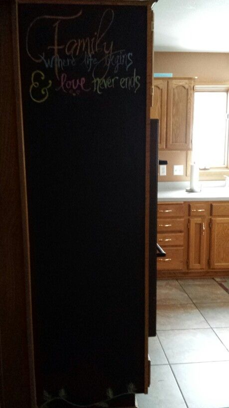 Painted the wood with Chalkboard paint.