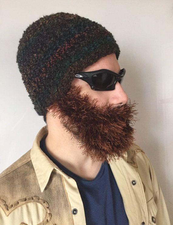 Handmade Crochet ready to ship Beard Hat in Dark colors hat with detachable Brown beard santa claus,for men, women, kids, or babies all siz #crochetedbeards