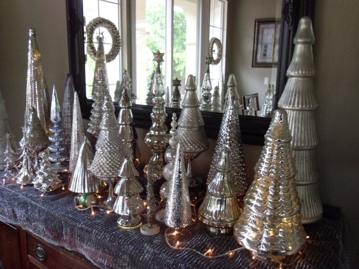 Elegant gold christmas tree decorating ideas - Mercury Glass Christmas Trees Trees Amp Topiary Home