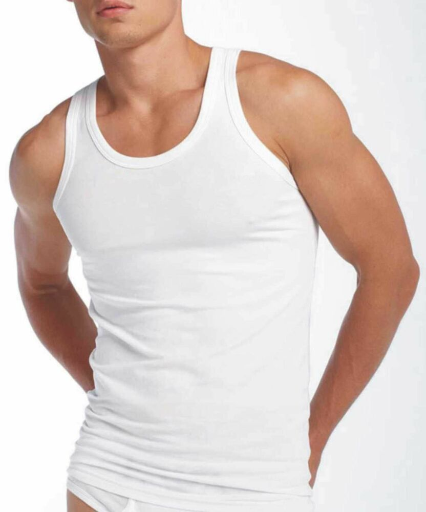 3 New Pack Mens Vests 100/% Cotton Tank Top Summer Training Gym Great Quality