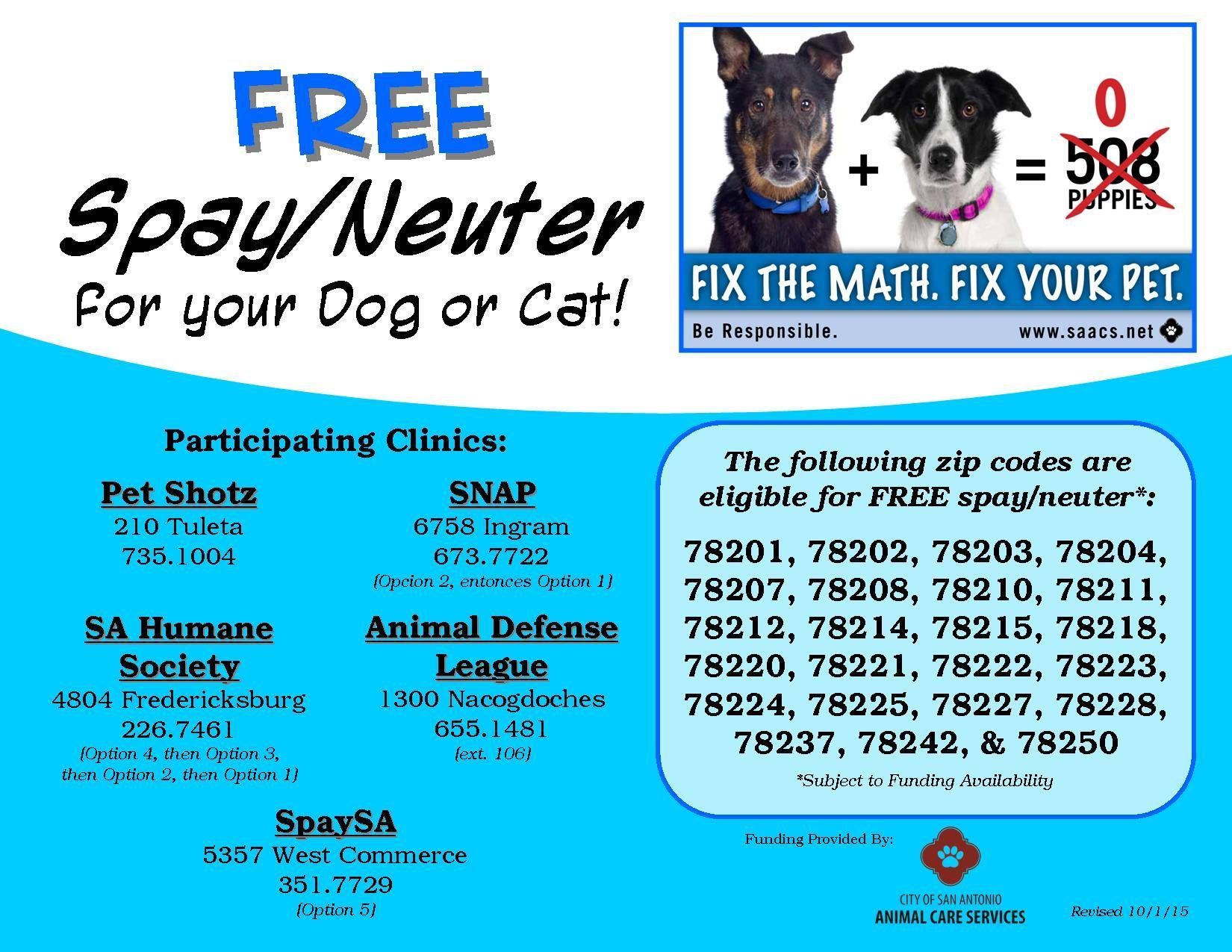 FREE spay/neuter services for cats and dogs living in the