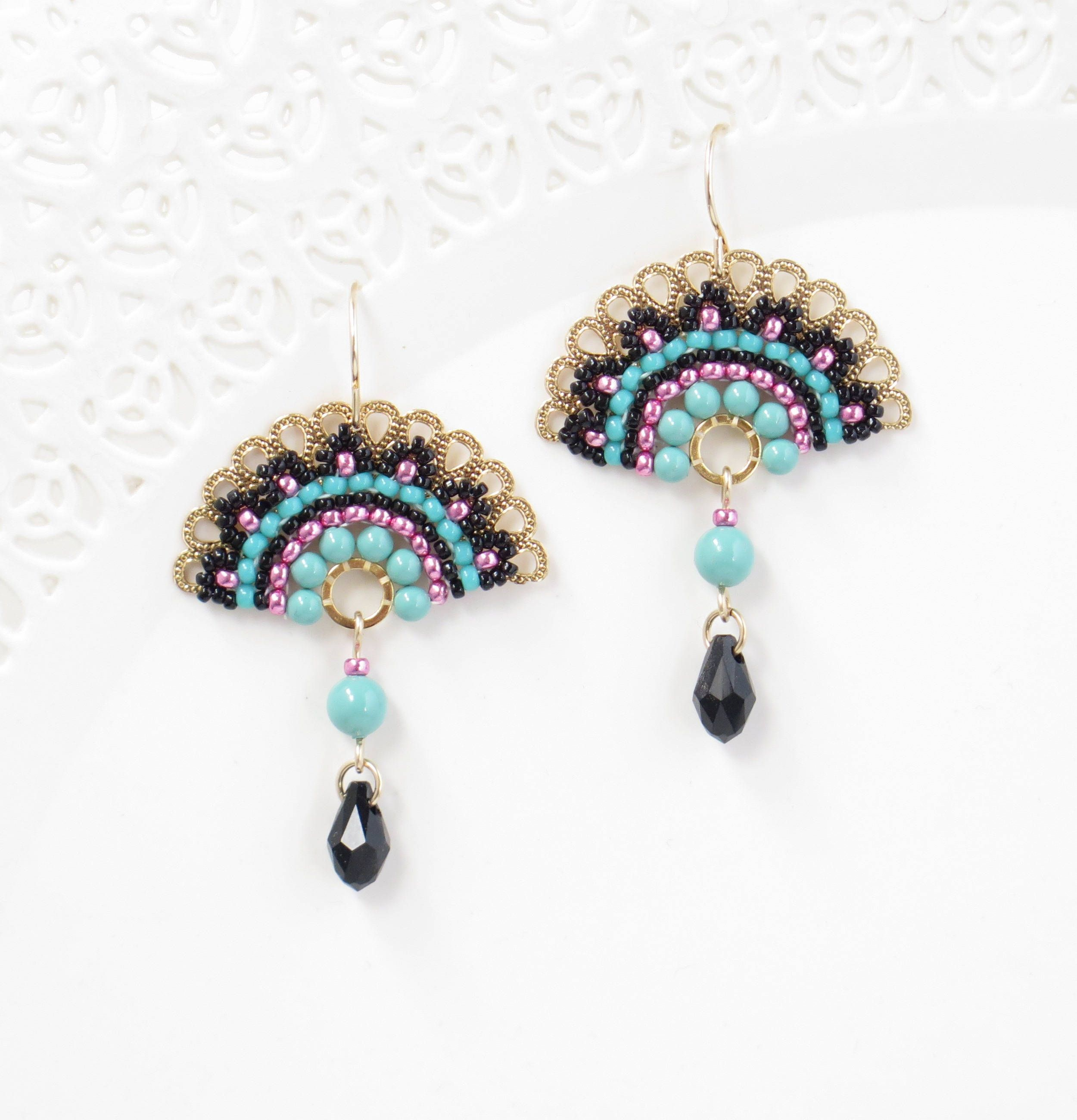 Bright Pastel Fan Fashion Crystal Drop Earrings