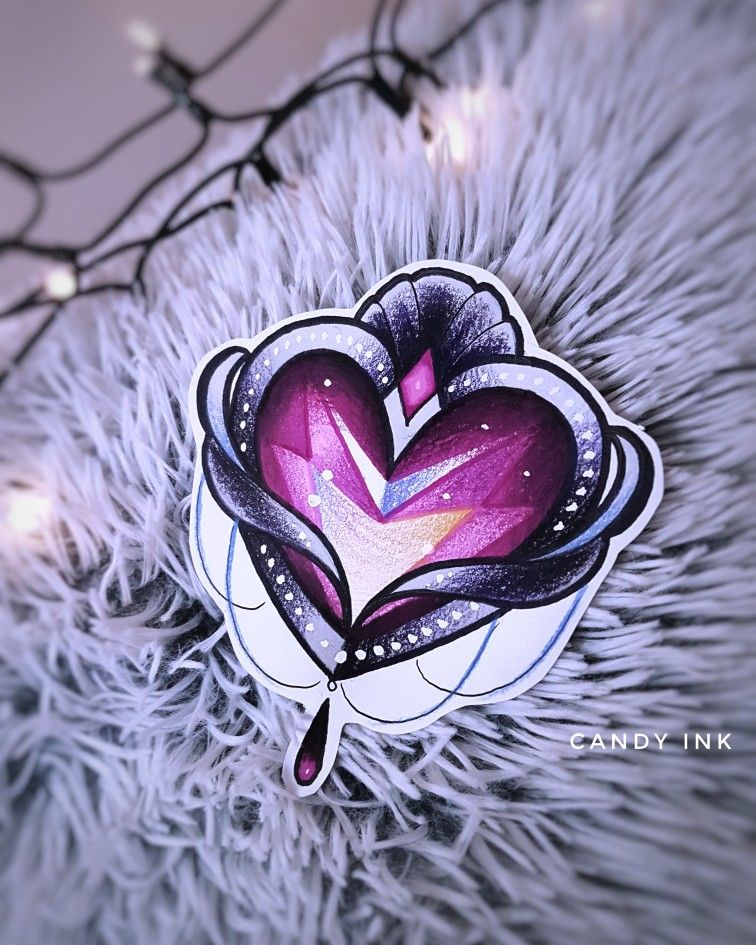bd13ad619 #neo #traditional #crystal #diamond #heart #tattoo #design #girly #drawing  Do not copy my designs!