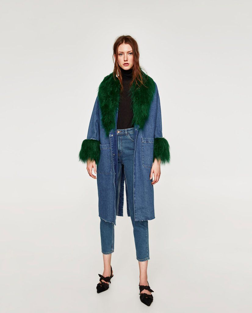 Zara denim coat with faux fur fur fashion photo and fashion