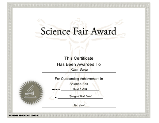 This Printable Certificate Features A Vitruvian Man And Microscope
