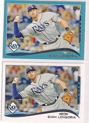 2014 Topps Evan Longoria Walmart Blue Parallel Base Cards 2 For 1 Sale Lot With Images Baseball Cards Cards Baseball