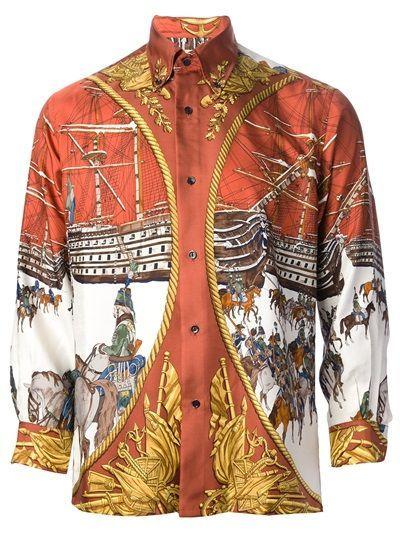 d8e68cfb96e65 Hermes Vintage Printed 80 S Silk Shirt