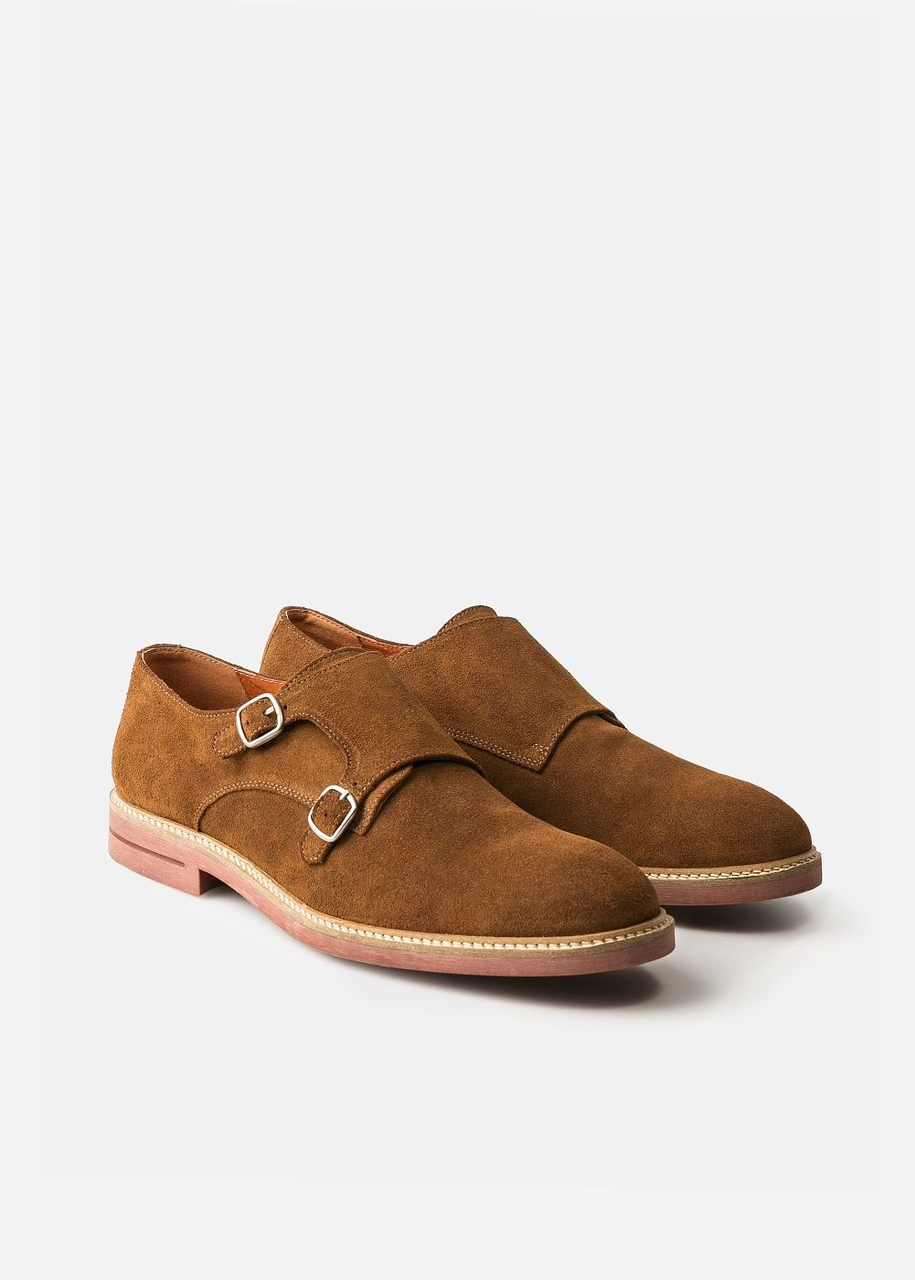 Suede monk-strap shoes - Men | MANGO Man USA
