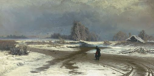 "22 February 1865, the Russian lyrical landscape painter Fyodor Alexandrovich Vasilyev was born in Gatchina near St Petersburg.  Depicted below is Fyodor Vasilyev's ""Thaw"" from 1871, now at the Tretyakov Gallery in Moscow."