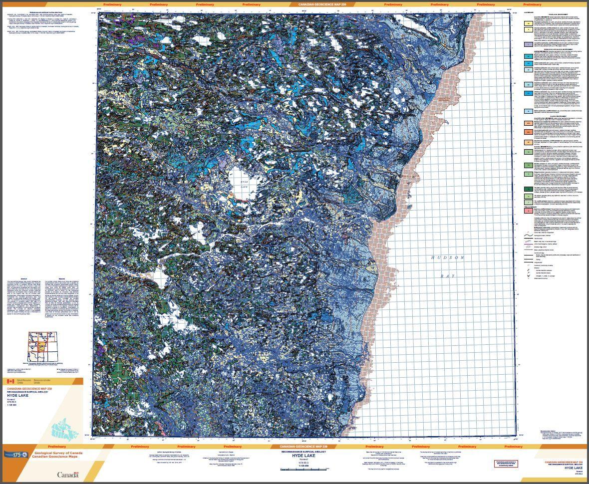 Reconnaissance surficial geology, Hyde Lake, Nunavut, NTS 55-D